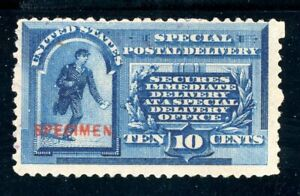USAstamps Unused FVF US 1885 Special Delivery Specimen Scott E1s OG MHR