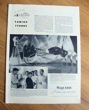 1944 E R Squibb Ad  Taming Typhus