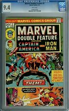 MARVEL DOUBLE FEATURE #2 CGC 9.4 WP RARE HEN TOOTH IRON MAN CAPTAIN AMERICA 1974