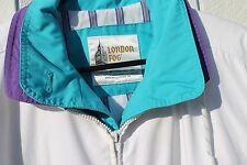 LONDON FOG Front Zipper Jacket Waist Coat Unisex Size M Reg, White/Teal/Purple