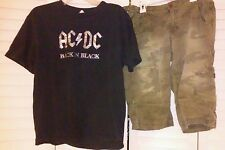 Juniors clothing, Large black AC/DC Tee shirt & size 6 3/4 length long shorts