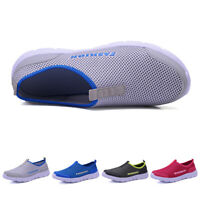 Mens Womens Breathable Mesh Shoes Slip On Loafers Summer Outdoor Walking Shoes