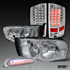 2002-2005 RAM 1500 2500 3500 Clear Lens Headlights+LED Tail Lights+3rd Brake