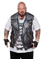 BIKER DUDE Costume T-Shirt w Tattoos BIG/TALL Allover Print Longsleeve 1XLB-4XLB