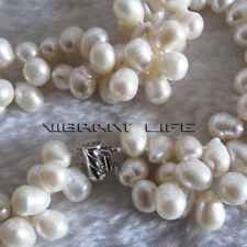 "18"" 8-9mm 2Row White Baroque Freshwater Pearl Necklace Strands Mother's Day Gift"