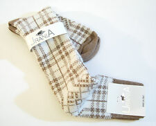 Urania Italy Ladies Knee Socks Angora Blend Plaid Camel / Soft White - NEW