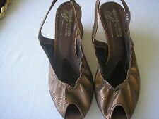 DONALD J PLINER Bronze metallic leather sling back wedge heel size 8.5 preowned