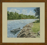 C.W.J - Framed Contemporary Watercolour, The Blue Rowing Boat