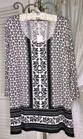 NEW~Plus Size 1X Gray Black Rose Floral Print Blouse Shirt Top