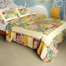 3 Pc Memory Piano turquoise gold red 100% Cotton Vermicelli Queen Quilt Shams
