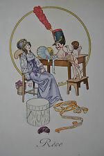 Cheri Herouard Reve Handkolorierte Lithographie 1911 Mode Kleider Fashion