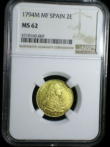 Kingdom of Spain 1794 M MF Gold 2 Escudos *NGC MS-62* Only 1 Graded Higher