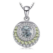Green Amethyst & Peridot Oval Pendant Necklace Sterling Silver Special Event