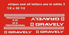 Gravely Professional 20 G White 31/2 x 301/2 Vinyl Decals And 2 Gravley Decals