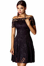 Abito ricamato pizzo gonna top nudo Fascia aperto Falde Lace Skater Dress S