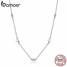 Collar de plata esterlina S925 mujeres Bamoer Corazón Colgante Con Zirconia Cúbico Joyería 45cm