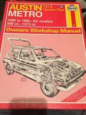 HAYNES MANUAL 718 - AUSTIN METRO - MG & VANDEN PLAS - 1980 - 1989 ALL MODELS