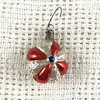 Vintage Blown Glass Red Silver Flower Christmas Ornament Colombia Columbia