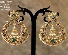 New USA Indian Pakistani Ethnic Chandbali Jhumki Moti Pearl Green Jhumka Earring