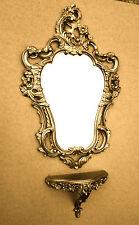 Set Specchio da parete oro barocco + Console Muro Antico 76x50 BAGNO VINTAGE