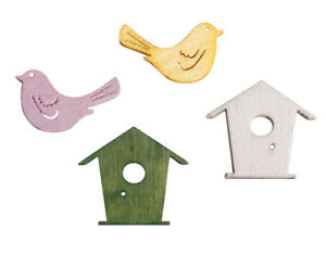 24 Painted Wooden Birds & Birdhouses - Embellishments for Crafts