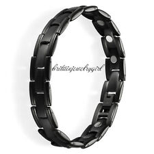 8.46 Inches Mens Black Titanium Steel Link Chain Magnetic Therapy Bracelet*12MM