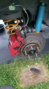 FORD FALCON PAIR OF REAR RED FPV PBR UPGRADE BRAKE CALIPERS 328MM BA BF FG FGX