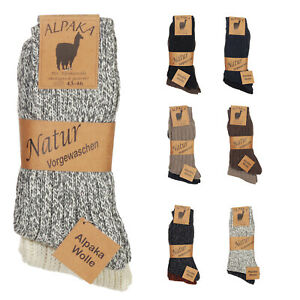 2 Alpaka Socken Herren Damen Wollsocken Schafswolle dick gestrickt Strümpfe 93