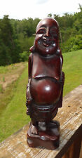 Vintage Rare Wooden Chinese Happy Laughing Buddha Statue Unique Hand Carved 12""