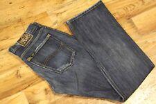 Mens LEE FLINT CONTRAST Regular Bootcut Button Fly Blue Jeans W32 L34