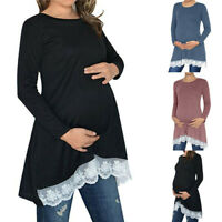 Women Pregnancy Tunic Long Sleeve Top Lace Splice Solid Maternity Blouse T Shirt