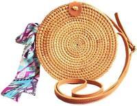 Round Rattan Bags Woman Handwoven Straw Purse Bag Crossbody Shoulder Leather Str