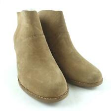 TOMS Women Size 6 Toffee Suede Zip Up Leila Ankle Booties Shoes