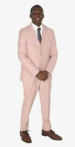 Men's Rose Blush Pink West End Slim Fit Suit with Pants & Vest 3 Piece 44R 38W