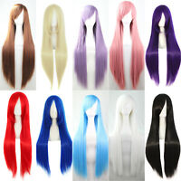 Womens Full Wig Long Straight Hair Wigs Cartoon Rock Punk Cosplay Party Costume