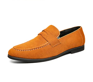 New Fashion Mens Dress Formal Loafer Slide On Flat Casual Faux Suede Oxford D