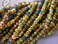 "6/0 Czech Seed Beads- Metallic Gold Striped Aged Picasso Mix (1/20"") #612"