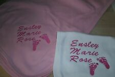 Baby Feet Personalized Baby Infant Toddler Blanket & Bib Pink Full Name Set