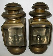 PAIR EARLY MAXWELL SCRIPT NO. 10 BRASS OIL SIDELAMPS