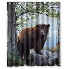 Shower Curtain Bear Forest Wildlife Nature Cabin Lodge Bathroom Decor Gift New