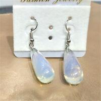 2PCS Natural Opal Stone Teardrop Beads Drop Dangle Earrings Women Jewelry Gift