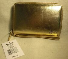 Another Line by Lodis Gold Leather Wristlet Wallet w/ 8 CC Slots NWT $88