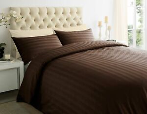 Duvet Covet 100% Cotton Sateen Stripe Quilt Cover With Pillow 300 Thread Count