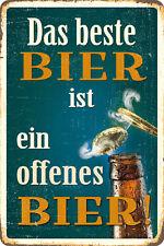 Das beste Bier ist ein offenes Bier ! Blechschild 20x30 cm PC 300/425