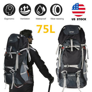 75L Outdoor Backpack Hiking Bag Camping Rucksack Waterproof Shoulder Travel Bags