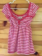 Hollister Striped Top Women's Juniors Pink & White Shirt Size XS