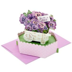 "Hallmark Mother's Day Card ~ POP UP Purple Pansy Flower Wagon ""You Are Loved"""