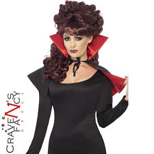 Ladies Mini Vampire Cape Costume Adult Halloween Fancy Dress Red & Black Collar