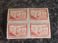 NEWFOUNDLAND POSTAGE STAMPS SG289 48C RED BROWN BLOCK OF 4 2x LMM & 2x UMM