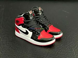 """1/6 Shoes Basketball Sneakers AJ1 For 12"""" Action Figure Bred Toe Gym Red / Black"""